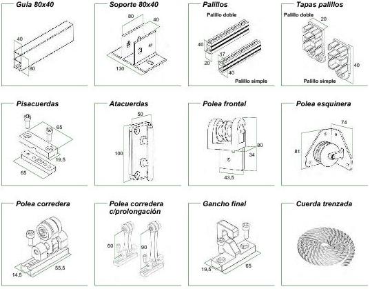 Perfil de 80 x 40 for Herrajes de aluminio para toldos