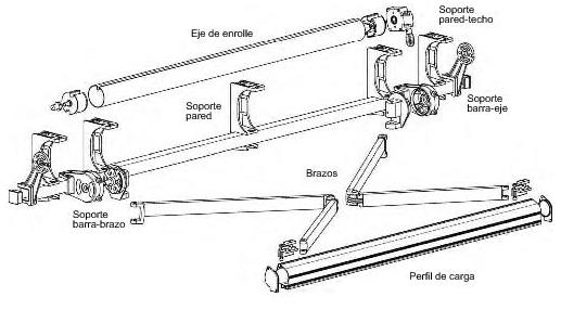 Kit de montaje para toldo de 8 piezas de harcas for Piezas para toldos